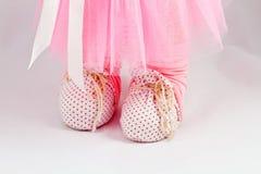 Ботинки handmade кукол с естественным крупным планом волос Стоковые Фотографии RF