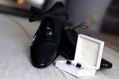 ботинки papillon groom cufflinks Стоковое Изображение