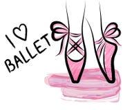 Ботинки pointe акварели с смычком ленты Нарисованный рукой iso произведения искусства Стоковое Изображение