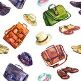 Ботинки ` s джентльмена, сумки и собрание комбинации шляп элегантное, безшовный дизайн картины на белой предпосылке иллюстрация вектора