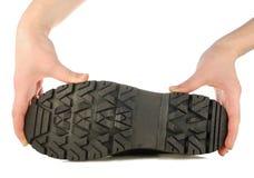 ботинок вручает грубую подошву Стоковая Фотография RF