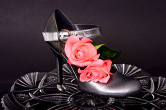 Ботинок женщины и поднял Стоковое Фото