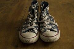 Ботинок играет главные роли винтажные шнурки Стоковое Изображение RF
