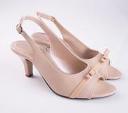 ботинок или ботинок женщины на предпосылке Стоковая Фотография