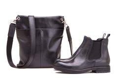 Ботинок и сумка ботинка на белой предпосылке Стоковые Изображения