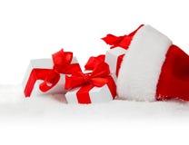 Ботинок, крышка и подарки Санты Стоковое Изображение RF