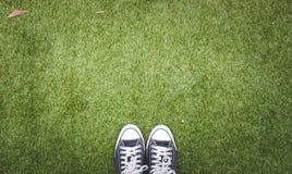 Ботинок на предпосылке травы Стоковые Изображения