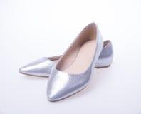 ботинок Серебряные ботинки женщины моды цвета на предпосылке Стоковое фото RF