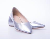 ботинок Серебряные ботинки женщины моды цвета на предпосылке Стоковая Фотография
