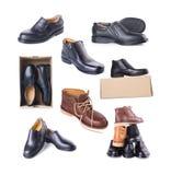 ботинок собрание ботинка человека на предпосылке Стоковые Изображения