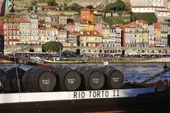 Бочки вина порта на реке Дуэро Стоковое Изображение