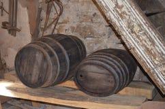 2 бочонка вина древесины Стоковое фото RF