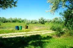 3 бочонка на зеленом луге Стоковые Фото