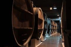 Бочонки вина в подвале винодельни Стоковые Фотографии RF