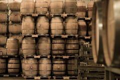 Бочонки вина штабелированные в погребе, винограднике Бордо Стоковое фото RF