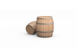 бочонки 2 деревянные Стоковое Фото