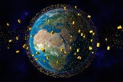 бочонки зарывают ядерный желтый цвет отхода орбиты Стоковое Изображение RF