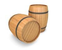 бочонки изолировали деревянное Стоковое Изображение