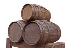 бочонки изолировали деревянное Стоковые Фото