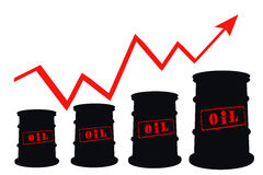 Бочонки и план-график повышений цен для нефтепродуктов Стоковые Фото
