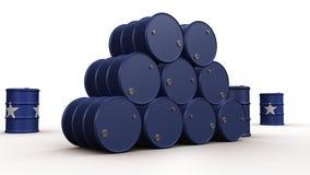 Бочонки синего масла изолированные на белой предпосылке иллюстрация штока