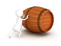 Бочонок вина белого нажима человека 3d деревянный Стоковое Изображение RF