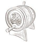 Бочонок вина изолированный на белизне иллюстрация вектора