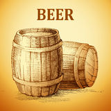 Бочонок года сбора винограда Oktoberfest Нарисованная рука пива Стоковое фото RF