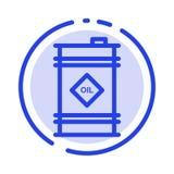 Бочонок, масло, бочонок масла, токсическая линия значок голубой пунктирной линии иллюстрация вектора