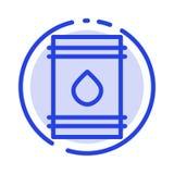Бочонок, масло, топливо, flamable, линия значок голубой пунктирной линии Eco иллюстрация штока