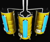 Бочонок металла для промышленных целей Емкость для продукции и хранения кожа иллюстрации фетиша ботинка 3d Иллюстрация вектора