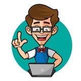 Болван Гай играя компьтер-книжку Стоковые Фотографии RF