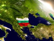 Болгария с флагом в восходящем солнце Стоковые Изображения RF