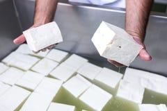 Болгарские белые кубы сыра фета Стоковая Фотография RF