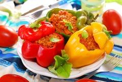 Болгарские перцы заполненные с семенить мясом Стоковое Изображение