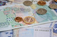 Болгарские bankonotes и монетки стоковое изображение rf