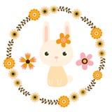 Более милый зайчик пасхи и флористический венок Иллюстрация штока