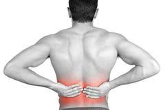 болея ушиб изображения задней кровати desaturated испытывая кладя мыжской soreness плеч боли шеи мышцы человека частично строгий  Стоковые Фото