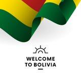 Боливия, котор нужно приветствовать вектор типа имеющегося флага Боливии стеклянный Патриотический дизайн вектор иллюстрация штока