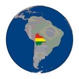 Боливия на политическом глобусе Стоковая Фотография RF