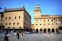 Болонья Италия Maggiore аркады стоковое фото rf