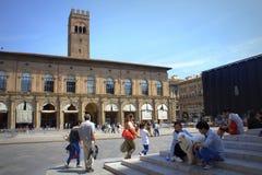 Болонья Италия Maggiore аркады стоковая фотография rf