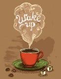 Бодрствование вверх по кофейной чашке иллюстрация вектора