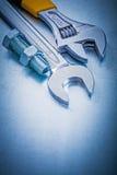 Болт ключа открыт-конца разводного гаечного ключа металла и Стоковые Изображения