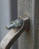 Болт с 2 гайками в ручке двери Стоковые Изображения