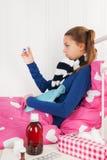 Больная девушка подростка Стоковая Фотография