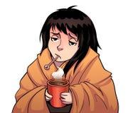 Больная девушка с термометром и горячей чашкой Стоковые Фото
