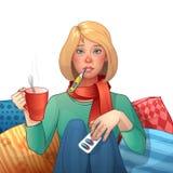 больной девушки холодно Лекарства, термометр, чашка чаю Иллюстрация изолированная вектором головка дерзких милых собак персонажа  бесплатная иллюстрация