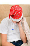Больной подросток с термометром Стоковое фото RF