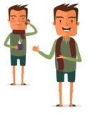 Больной человек с кружкой горячего питья в их руках Иллюстрация штока